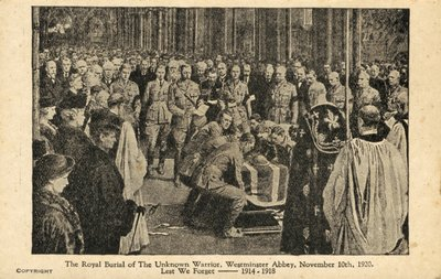 Unknown Soldier Burial  UK 1920 westminster abbey